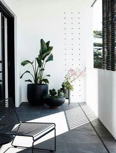 Small balcony decor ideas black and white, balcón en blanco y negro Balcony Tiles, Balcony Plants, Balcony Flooring, Balcony Railing, Condo Balcony, Small Balcony Garden, Small Balcony Decor, Outdoor Spaces, Outdoor Living