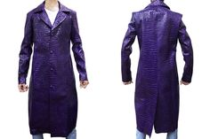 Suicide Squad Jared Leto Joker Purple Long Coat For Men Created by Top Leather Factory. Made from Crocodile Embossed Synthetic Leather Worn by Jared Leto as Joker in Movie Suicide Squad.  You can wear this Stylish Coat in Clubs, Parties, and Concerts Available at Our Online Store in Low Price.  #suicidesquad #jaredleto #joker #movies #moviecharacter #boysfashion #menfashion #mencollection #parties #casual #menswear #love #gentleman #styles #fashionblog #streetstyle