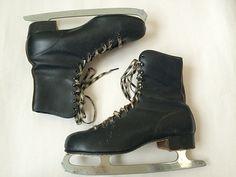 Vintage Mens 1960's Black Ice Skates by Baxtervintage on Etsy