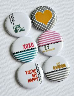 Look At This - set of six badges/ flair button. Paper Play flair by Sasha Farina Button Badge, Pin Button, Diy Souvenirs, Button Maker, Funny Buttons, Star Painting, Cute Pins, Metal Buttons, Pin Badges