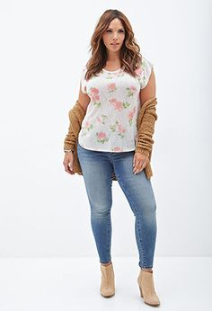 I love how this is styled!   Rose Print Batwing Top | FOREVER 21 - 2000098976