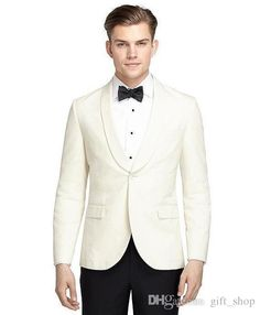 Wholesale 2017 New Arrival One Button Ivory Groom Tuxedos Groomsmen Shawl Lapel Best Man Wedding Prom Dinner Suits Jacket+Pants+Bow Tie White Mens Suit White Tie Attire From Gift_shop, $96.17| Dhgate.Com