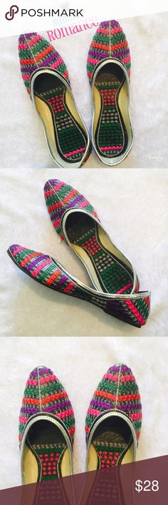 Multicolor Indian flats Very pretty Indian shoes with multicolor handmade embroidered with silver on edging . Shoes are from India but size mentioned in the listed in based on USA sizing . Please ask Any Q before u buy . Shoes Flats & Loafers