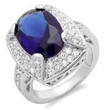 Share 8.00 CT Ladies Oval & Round Blue Sapphire and Clear Cubic Zirconia CZ Wedding Bridal Engagement Ring Set (Available in size 6, 7) - Dazzling Rock #https://www.pinterest.com/dazzlingrock/