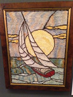 """""""Sailboat"""" Hooked by, Diane DuBray Designed by, Jane McGown Flynn"""