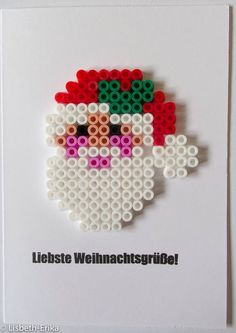 Christmas card Santa hama perler by Lisbeth-Erika