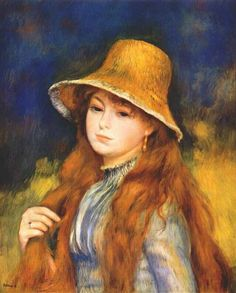 Girl with a Straw Hat - Renoir, Pierre August (French, 1841 - Fine Art Reproductions, Oil Painting Reproductions - Art for Sale at Galerie Dada Pierre Auguste Renoir, Jean Renoir, Claude Monet, Henri Matisse, August Renoir, Renoir Paintings, Impressionist Artists, Manet, Oil Painting Reproductions