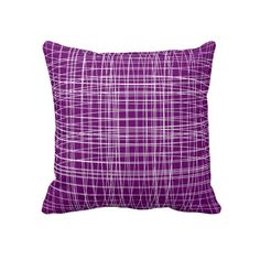 Deep Plum Purple Modern Abstract Weave Pattern Home Decor Throw Pillows.  A modern abstract weave pattern in a lovely shade of plum purple and white on throw Pillow Cushions. These will look fabulous in any type of room whether its a bedroom or living area.
