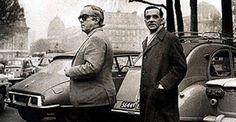 Vinicius de Moraes e João Cabral de Melo Neto em Paris, na década de 70.