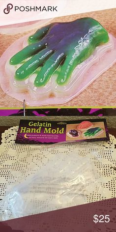 Spooky Jello hand mold Halloween prop Offered is a spooky Jello hand mold perfect for Halloween. New in package and in immaculate condition. Great addition to add a little spooky the party. I would just make one heck of a Jello shot with this. Happy Halloween! Hot Topic Other