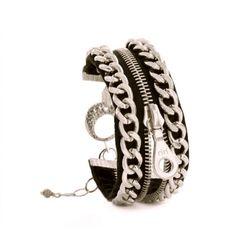 Silver Chain and Black Zipper Bracelet