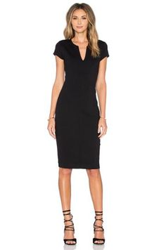 Shop for Eight Sixty Short Sleeve Midi Dress in Black at REVOLVE. Free day shipping and returns, 30 day price match guarantee. V Neck Dress, I Dress, Calf Length Dress, Sixties Fashion, Revolve Clothing, Ladies Dress Design, Dress Collection, Designer Dresses, Dresses For Work