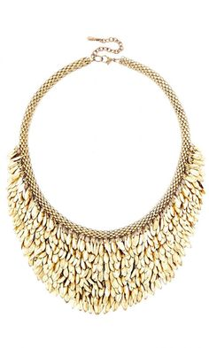 Statement collar necklace with layers of luxurious metal fringe in gold-toned metal.