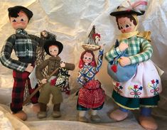 "Vintage Pair of 11"" & 7"" Mascotes Maria Helena Portugal Portuguese Cloth Dolls"