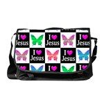 JESUS LOVES ME Messenger Bag Share your love, joy, and faith with this beautiful butterfly I love Jesus patterned design. http://www.cafepress.com/heavenlyblessings/11667593 #Jesus #JesusisLord #Christian #Christiangifts #BelieveinGod #ILoveJesus #Jesusgifts #BlessedbyGod #Jesuslovesme