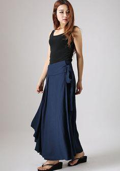 Blue skirt woman warp skirt custom made linen skirt by xiaolizi