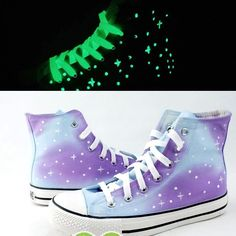 Luminous hand-painted Harajuku gradients stars canvas shoes - Thumbnail 1