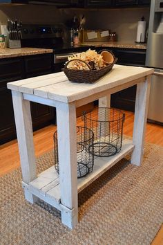 Rustic Reclaimed Wood Kitchen Island Table - My husband and I salvaged some wood that is used to support large construction materials during delivery. Most of i…