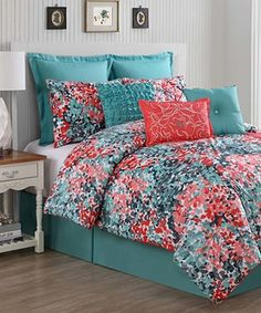 Another great find on #zulily! Turquoise & Coral Yorke Comforter Set #zulilyfinds
