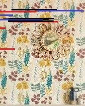 Tapete Luzie | Tapeten der 70er Tapete Luzie Matt Blätter Blumen Creme Blaugrün Honiggelb Weinrot Weiss Zartrosa
