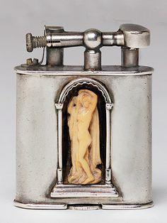 Silver Dunhill lighter modified to add figure, 1927-1928.   - Veranda.com