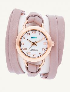 Nude-Rose Gold Saturn Leather Wrap Watch