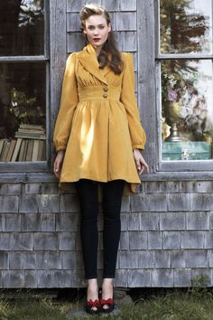 Love this coat so much! {Ruched Marigold Coat - Anthropologie.com}