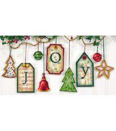 Joy Tag Ornaments Counted Cross Stitch Kit-5