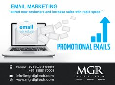Email Marketing: Email marketing gives your brand an edge in a tough market. Daily,Weekly,or even monthly emails will keep your brand in your  consumer's mind. MGRDIGITECH provides services for Email Marketing.  For more details please contact us: Contact details Phone: +91 8688170003, +91 8688170008 Email-Id:info@mgrdigitech.com Website:www.mgrdigitech.com  #MGR,#MGRDigitech,#Digital,#OnlineSales,#DigitalSolutions,#EmailMarketing