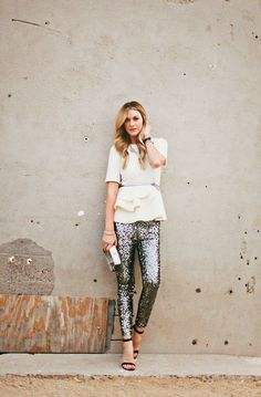 sequins pants, how gorgeous is this look?