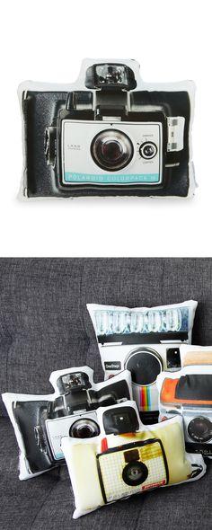 Vintage camera pillow
