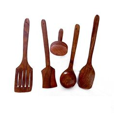 Etsibitsi Wooden Spoon Set of 5  1 Frying 1 Serving 1 Masher 1 Chapati Spoon 1 Desert for Kitchen  Dining Table_eb_ws_002us >>> Check out the image by visiting the link.Note:It is affiliate link to Amazon.