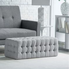 Tufted Rectangle Ottoman. For the end of stella bed.