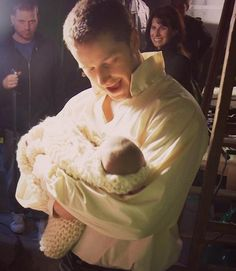 Behind The Scenes: Josh with baby Emma, during the pilot episode.
