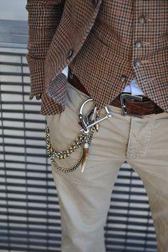 Men's Style - tweed jacket, suit vest, brown belt and chain wallet...