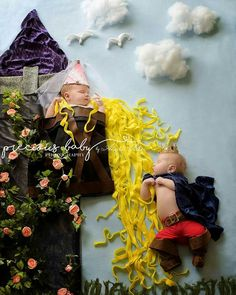 Rapunzel and prince with tower. Newborn baby boy and girl. Precious Baby Photography, Fort Wayne, Indiana. scene www.preciousbabyphotography.com