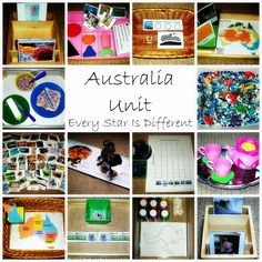 Every Star Is Different: Australia Unit w/ Free Printables- a Montessori-inspired continent study. Montessori Materials, Montessori Activities, Activities For Kids, Learning Activities, Montessori Elementary, Montessori Classroom, Australia For Kids, Australia Crafts, Sydney Australia