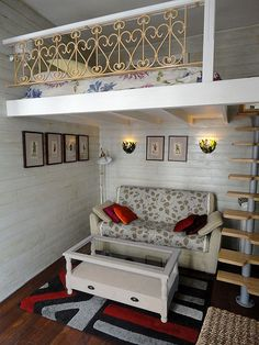 Adult loft beds. The style is not me, but I LOVE the idea. Great space-saver.