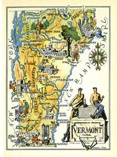 Vintage VERMONT State Map Animated Cartoon Map Print Wall Art Gift for Anniversary Teacher Wedding Birthday lizmap Travel Maps, Travel Posters, Travel Destinations, Vintage Maps, Vintage Travel, Vermont, Alaska, Pictorial Maps, New England States