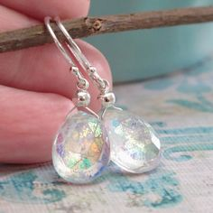 Mystic Quartz Briolette Sterling Silver Drop Dangle Earrings