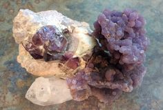 """Divine Perfection! Intuitively Guided, Client Custom Order...Fit together perfectly physically & energetically. Created a lovely Violet Energy Vortex. Blew 2 pictures off her walls 1st night. Cleaned out some low vibe energies & an unhelpful spirit. No kidding. """"Non-Crystal"""" client now big believer ;-) Brandberg Amethyst, Grape Agate & old Quartz Crystal Point (I pulled from my Private Collection to finish off order just right!)"""