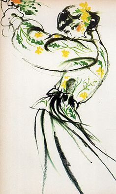 Fashion illustration by Antonio, 1973, Summer Dress Christian Dior.