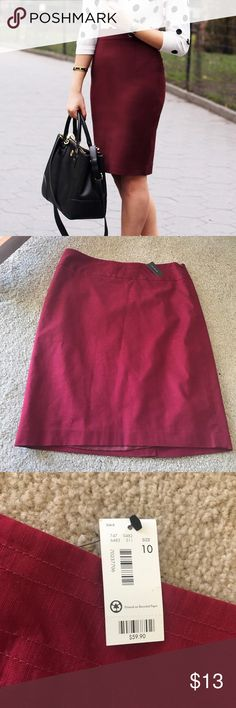 NWT The Limited pencil skirt Brand new with tags. Size 10. Retail price is $59.90. Never worn. Super cute for office wear or any formal wear. I'm 5'4 and it hits me right on my knee so it's more of a midi skirt. Color is maroon. The Limited Skirts Midi