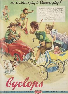 Cyclops Toys advertising sign mounted on a board depicting children on bikes, scooters, in toy cars and pushing a pram Vintage Labels, Vintage Ads, Vintage Posters, Vintage Airline, Vintage Signs, Retro Ads, Vintage Advertisements, Australian Vintage, Australian Icons