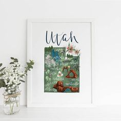 State Map Utah Art Print Wedding Gift Idea Utah Map Artwork