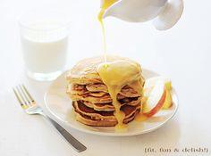 Apple Pancakes » Fit, Fun & Delish! ~ Make self rising flour for this recipe: 1.5 cups flour with 2 teas baking powder and 1/2 teas salt