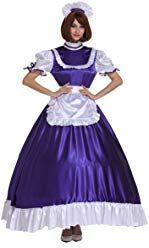 GOceBaby Sissy Mädchen Zofen Rüschen Lila Verschließbares Lange Kleid Crossdress (XXXL) Petticoats, Maids, Satin Dresses, Cosplay, Costumes, Disney Princess, Skirts, People, Outfits