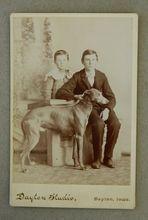 Cabinet Photograph Greyhound Dog With Children