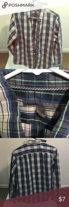 Blue & Green Old Navy Dress Shirt Size Small Blue & Green Old Navy Dress Shirt Size Small Old Navy Shirts Dress Shirts