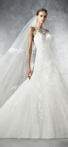 pronovias sweetheart neckline a line lace wedding dresses 2016 PRUNELIA_B